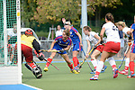 Mannheim, Germany, September 27: During the 1. Bundesliga Damen Saison 2014/15 field hockey match between Mannheimer HC and TSV Mannheim on September 27, 2014  Mannheimer Hockey Club in Mannheim, Germany. Final score 3-3 (2-3). (Photo by Dirk Markgraf / www.265-images.com) *** Local caption *** Friederike Schreiber (TW) of TSV Mannheim, Charlotte van Bodegom #14 of Mannheimer HC, Katharina Lacina #22 of Mannheimer HC, Yasemine Zorke #28 of TSV Mannheim