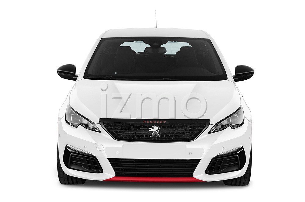 Car photography straight front view of a 2018 Peugeot 308 GTi Base 5 Door Hatchback