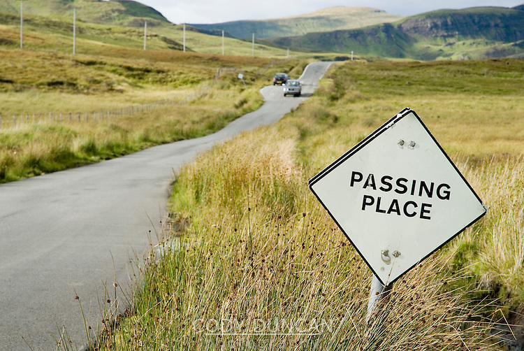 Passing sign on single lane Scottish road