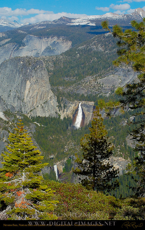 Nevada Fall, Vernal Fall and Liberty Cap in Spring, Glacier Point, Yosemite National Park