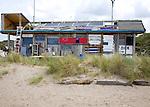 Shack selling fish in sand dunes near Kijkduin, Scheveningen, Holland