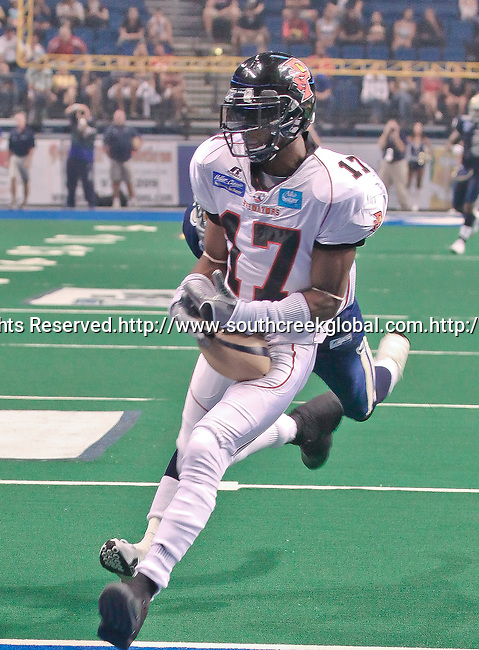 Aug 14, 2010: Orlando Predator wide receiver Antoine Toliver (#17) celebrates another touchdown against the Storm. The Storm defeated the Predators 63-62 to win the division title at the St. Petersburg Times Forum in Tampa, Florida. (Mandatory Credit:  Margaret Bowles)