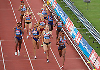 Ajee Wilson (United States) wins the women's 800m from Lynsey Sharp (Great Britain) during the IAAF Diamond League Athletics Müller Grand Prix Birmingham at Alexander Stadium, Walsall Road, Birmingham on 18 August 2019. Photo by Alan  Stanford.