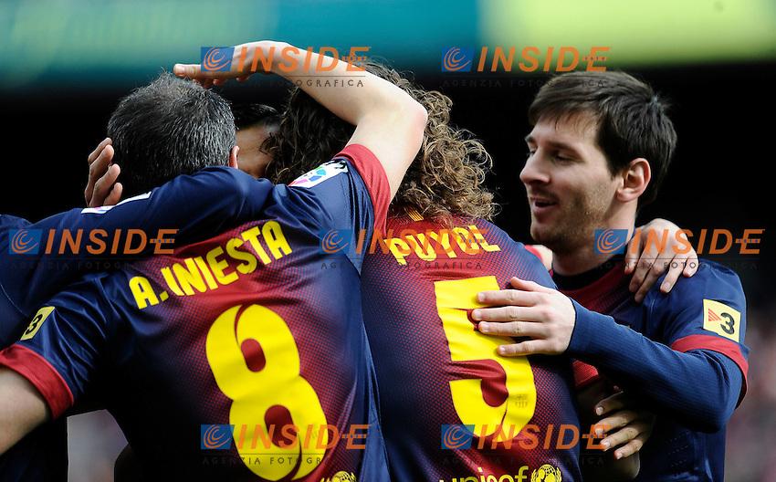 Esultanza dopo il gol  Bracelone .Football Calcio 2012/2013 La Liga Spagna .Barcellona Vs Getafe .Foto Panoramic / Insidefoto .ITALY ONLY