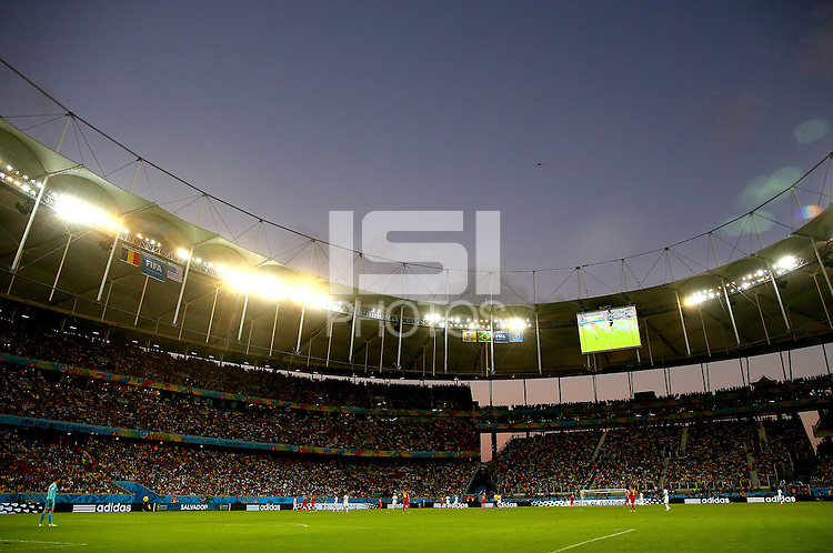 A general view of the Arena Fonte Nova during play as the sun sets