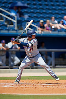 Jacksonville Jumbo Shrimp third baseman Brian Schales (13) at bat during a game against the Biloxi Shuckers on May 6, 2018 at MGM Park in Biloxi, Mississippi.  Biloxi defeated Jacksonville 6-5.  (Mike Janes/Four Seam Images)