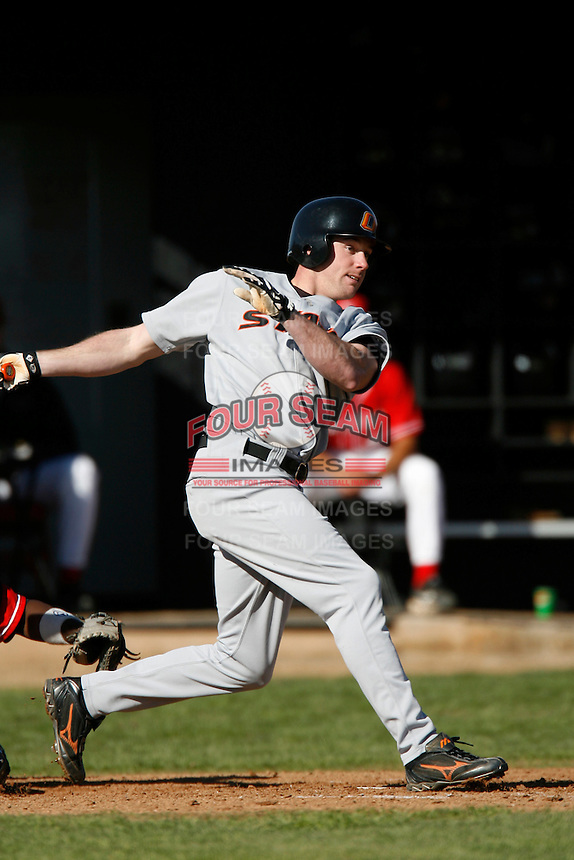 Corey Brown of the Oklahoma State Cowboys during a game against the Cal State Northridge Matadors at Matador Field on February 23, 2007 in Northridge, California. (Larry Goren/Four Seam Images)