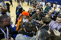 16.01.2013 London, England. Film director and Knicks super fan Spike Lee talks to the media during team practice ahead of the NBA London Live 2013 game between the Detroit Pistons and the New York Knicks from The O2 Arena