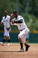 GCL Pirates second baseman Yoyner Fajardo (7) throws to first base during a Gulf Coast League game against the GCL Braves on July 30, 2019 at Pirate City in Bradenton, Florida.  GCL Braves defeated the GCL Pirates 10-4.  (Mike Janes/Four Seam Images)