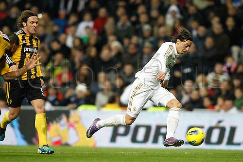28.01.2012 SPAIN -  La Liga matchday 21th  match played between Real Madrid vs Real Zaragoza at Santiago Bernabeu stadium. The picture shows Mesut Ozil (Real Madrid)