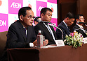 August 8, 2016, Tokyo, Japan - Japan's largest retail group Aeon president Motoya Okada annunces the company acquired 14 supermarkets in Myanmar from Creation Myanmar Group of Companies Limited (CMGC) at a press conference in Tokyo on Monday, August 8, 2016. Aeon and CMGC established supermarket operation company Aeon Orange in Myanmar and will start operation in this year.    (Photo by Yoshio Tsunoda/AFLO) LWX -ytd-