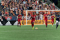 FOXBOROUGH, MA - ack201913: Richie Laryea #22 of Toronto FC brings the ball forward during a game between Toronto FC and New England Revolution at Gillette Stadium on August 31, 2019 in Foxborough, Massachusetts.