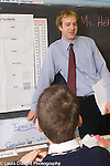 Education Elementary male teacher talking to students in classroom, standing at black board