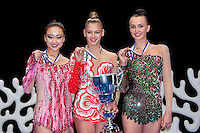 February 27, 2016 - Espoo, Finland - (L-R) AA winners are: SON YEON Jae of South Korea (silver), ALEKSANDRA SOLDATOVA of Russia (gold) and ANNA RIZATDINOVA of Ukraine (bronze) at Espoo World Cup 2016.