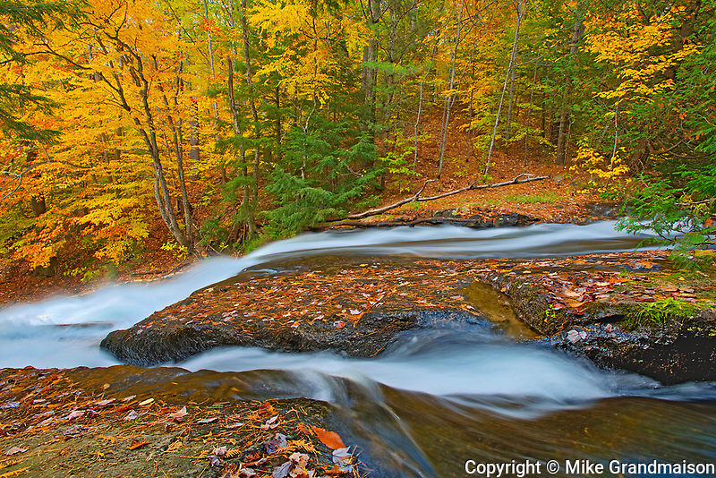 Cascading waterfall at Hatchery Falls on the Skeleton River. Muskoka Country.<br />