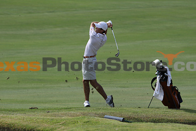 University of Texas freshman Gavin Hall hits from the fairway during the Carpet Capital Collegiate at The Farm Golf Club in Rocky Face, Ga., on Saturday, Sept. 7. The Longhorns return to The Farm as defending champions after shooting a 13-under 851 in 2012.<br /> <br /> Photo by Patrick Smith
