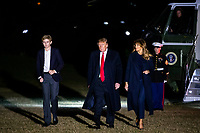 United States President Donald J. Trump, first lady Melania Trump, and Barron Trump arrive on the South Lawn of the White House, on Sunday, February 3, 2019 in Washington, D.C., U.S., after spending the weekend at Trump's Mar-a-Lago club in Florida. Photo Credit: Al Drago/CNP/AdMedia
