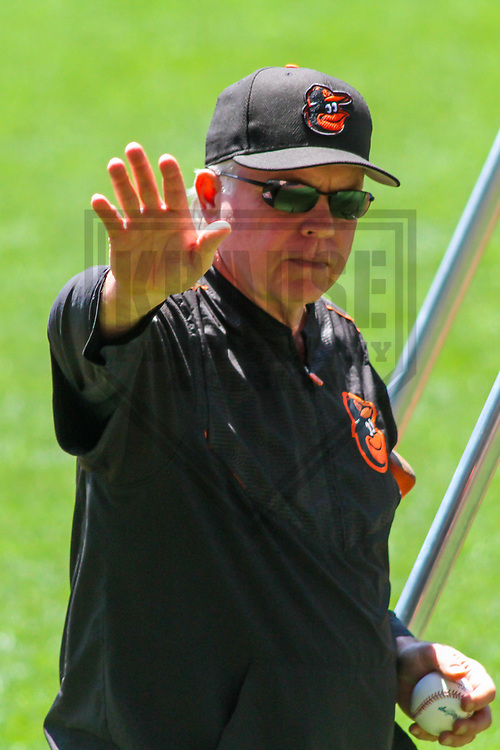 Baltimore Orioles manager Buck Showalter (26) during a Major League Baseball game against the Milwaukee Brewers on July 3, 2017 at Miller Park in Milwaukee, Wisconsin.  Milwaukee defeated Baltimore 8-1. (Brad Krause/Krause Sports Photography)