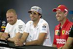 09.05.2019, Circuit de Catalunya, Barcelona, FORMULA 1 EMIRATES GRAN PREMIO DE ESPAÑA 2019<br /> , im Bild<br />Pressekonferenz:<br />Valtteri Bottas (FIN#77), Mercedes-AMG Petronas Motorsport, Carlos Sainz Jr. (SPA#55), McLaren F1 Team, Sebastian Vettel (GER#5), Scuderia Ferrari Mission Winnow<br /> <br /> Foto © nordphoto / Bratic