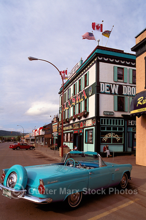 "A 1956 Ford Thunderbird Convertible parked in front of the ""Alaska Hotel"", Dawson Creek, Northeastern British Columbia, Canada"