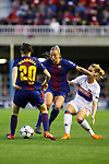 UEFA Women's Champions League 2017/2018.<br /> Quarter Finals.<br /> FC Barcelona vs Olympique Lyonnais: 0-1.<br /> Natasha Andonova, Toni Duggan &amp; Amandine Henry.