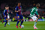 "5th December 2017, Camp Nou, Barcelona, Spain; UEFA Champions League football, FC Barcelona versus Sporting Lisbon; José Paulo Bezerra ""Paulinho"" of FC Barcelona dribbles towards Fabio Coentrao of Sporting Lisbon"