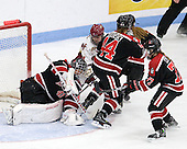 Florence Schelling (Northeastern - 41), Melissa Bizzari (BC - 4), Stephanie Gavronsky (Northeastern - 44), Kendall Coyne (Northeastern - 77) - The Northeastern University Huskies defeated the Boston College Eagles in a shootout on Monday, January 31, 2012, in the opening round of the 2012 Women's Beanpot at Walter Brown Arena in Boston, Massachusetts. The game is considered a 1-1 tie for NCAA purposes.
