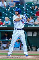 Iowa Cubs infielder Mike Freeman (5) at bat during game two of a Pacific Coast League doubleheader against the Colorado Springs Sky Sox on August 17, 2017 at Principal Park in Des Moines, Iowa. Iowa defeated Colorado Springs 6-0. (Brad Krause/Four Seam Images)