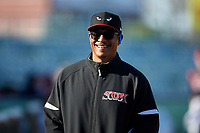 Lake Elsinore Storm manager Tony Tarasco (33) before a California League game against the Lancaster JetHawks on April 10, 2019 at The Hanger in Lancaster, California. Lake Elsinore defeated Lancaster 10-0 in the first game of a doubleheader. (Zachary Lucy/Four Seam Images)