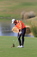 Bjorn Akesson (SWE) plays his 2nd shot on the 14th hole during Thursday's Round 1 of the 2016 Portugal Masters held at the Oceanico Victoria Golf Course, Vilamoura, Algarve, Portugal. 19th October 2016.<br /> Picture: Eoin Clarke   Golffile<br /> <br /> <br /> All photos usage must carry mandatory copyright credit (© Golffile   Eoin Clarke)