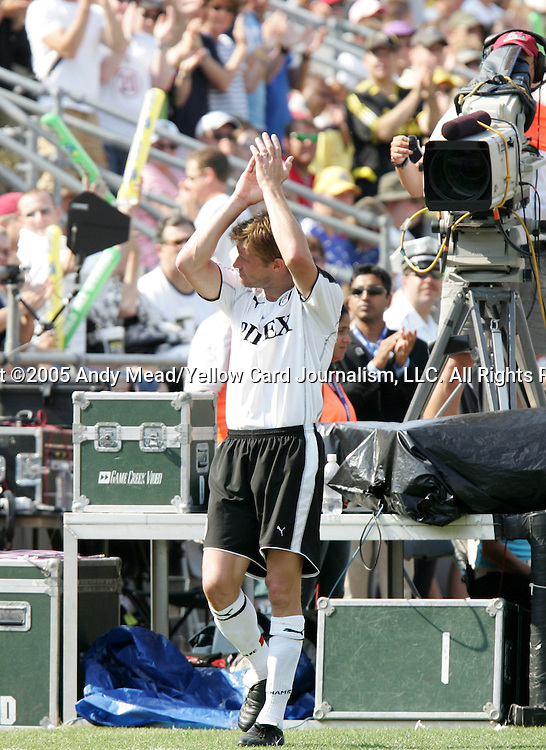 30 July 2005: Brian McBride applauds the crowd after being subbed out of the game in the 61st minute. Major League Soccer's All-Stars defeated Fulham FC of the English Premier League 4-1 at Columbus Crew Stadium in Columbus, Ohio in the 2005 Sierra Mist MLS All-Star Game.