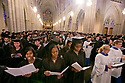 Prospective graduates sing the alma mater during Baccalaureate Service at Duke Chapel.