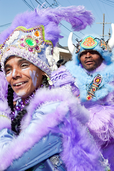 Kim Boutte, Queen of the Fi Yi Yi, dances in the Treme neighborhood of New Orleans on Mardi Gras day, February 16, 2010.
