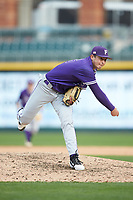 Furman Paladins relief pitcher Eric Taylor (26) follows through on his delivery against the Wake Forest Demon Deacons at BB&T BallPark on March 2, 2019 in Charlotte, North Carolina. The Demon Deacons defeated the Paladins 13-7. (Brian Westerholt/Four Seam Images)
