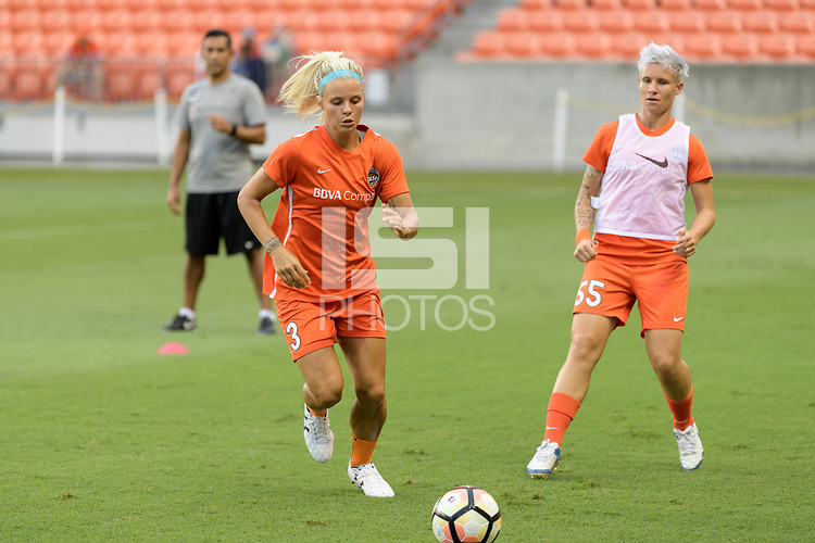 Houston, TX - Saturday July 15, 2017: Rachel Daly warming up during a regular season National Women's Soccer League (NWSL) match between the Houston Dash and the Washington Spirit at BBVA Compass Stadium.