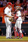 16 May 2007: Washington Nationals pitcher Jon Rauch (left) is congratulated by catcher Brian Schneider (right) after closing out a game against the Atlanta Braves at RFK Stadium in Washington, DC. The Nationals rallied to defeat the Braves 6-4 to take a 2-1 lead in their four-game series...Mandatory Photo Credit: Ed Wolfstein Photo