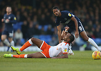 Blackpool's Nathan Delfouneso is taken down by Southend United's Timothee Dieng<br /> <br /> Photographer Rob Newell/CameraSport<br /> <br /> The EFL Sky Bet League One - Southend United v Blackpool - Saturday 17th November 2018 - Roots Hall - Southend<br /> <br /> World Copyright © 2018 CameraSport. All rights reserved. 43 Linden Ave. Countesthorpe. Leicester. England. LE8 5PG - Tel: +44 (0) 116 277 4147 - admin@camerasport.com - www.camerasport.com