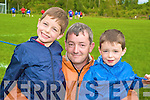 Enjoying the official opening of the new football pitch at Lickeen, Glencar on Sunday were Matt, Patrick and Alan Moroney, Killorglin......