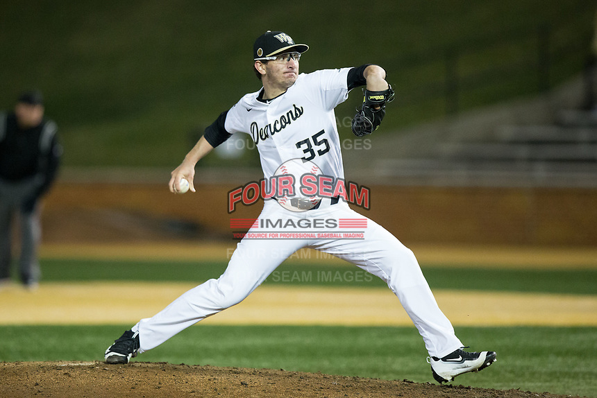 Wake Forest Demon Deacons relief pitcher Morgan McSweeney (35) in action against the Kent State Golden Flashes in game two of a double-header at David F. Couch Ballpark on March 4, 2017 in Winston-Salem, North Carolina.  The Demon Deacons defeated the Golden Flashes 5-0.  (Brian Westerholt/Four Seam Images)