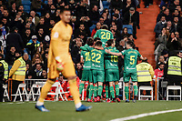 6th February 2020; Estadio Santiago Bernabeu, Madrid, Spain; Copa Del Rey Football, Real Madrid versus Real Sociedad; goalkeeper Alphonse Areola (Real Madrid) looks on dejected after Mikel Merino (Real Sociedad)  scored his goal which made it 1-4