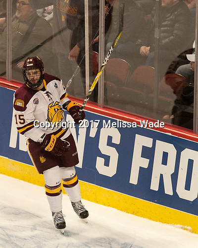 Willie Raskob (UMD - 15) - The University of Minnesota Duluth Bulldogs defeated the Harvard University Crimson 2-1 in their Frozen Four semi-final on April 6, 2017, at the United Center in Chicago, Illinois.