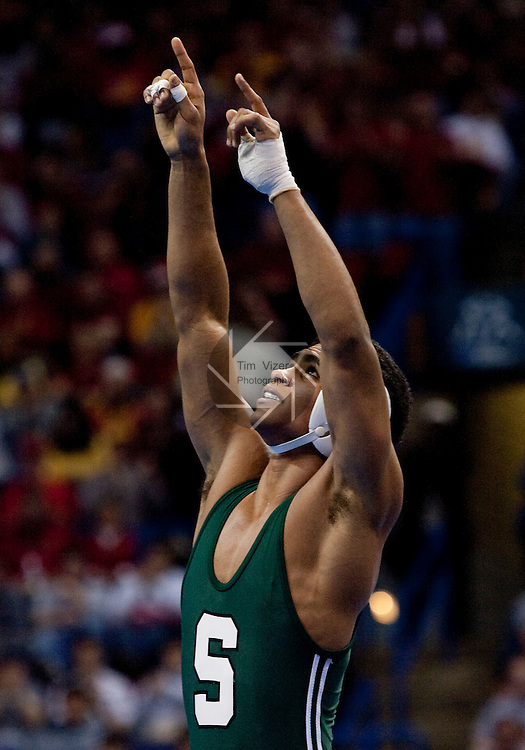 March 21 2009    Franklin Gomez (green) from Michigan State battled Reece Humphrey (not shown)) from Ohio State in the 133 pound weight class in the championship round of the NCAA Division I  Wrestling Championships which were held March 19 through March 21, 2009 at the Scottrade Center in downtown St. Louis, Missouri.  Gomez won and here reacts after his victory...         *******EDITORIAL USE ONLY*******