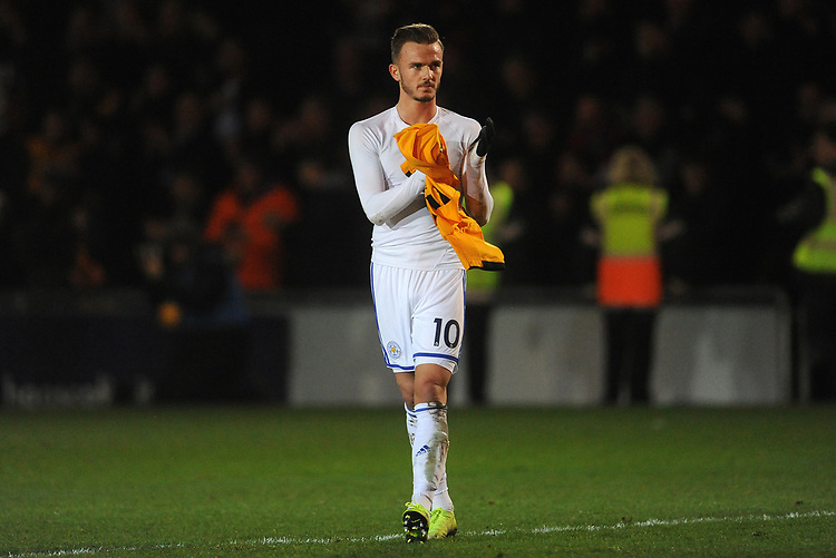 Leicester City's James Maddison looks dejected at the final whistle <br /> <br /> Photographer Ian Cook/CameraSport<br /> <br /> The Emirates FA Cup Third Round - Newport County v Leicester City - Sunday 6th January 2019 - Rodney Parade - Newport<br />  <br /> World Copyright &copy; 2019 CameraSport. All rights reserved. 43 Linden Ave. Countesthorpe. Leicester. England. LE8 5PG - Tel: +44 (0) 116 277 4147 - admin@camerasport.com - www.camerasport.com