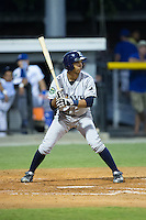 Oscar Rojas (13) of the Princeton Rays at bat against the Burlington Royals at Burlington Athletic Stadium on August 12, 2016 in Burlington, North Carolina.  The Royals defeated the Rays 9-5.  (Brian Westerholt/Four Seam Images)