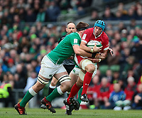8th February 2020; Aviva Stadium, Dublin, Leinster, Ireland; International Six Nations Rugby, Ireland versus Wales; Justin Tipuric (Wales) is tackled by Iain Henderson (Ireland)
