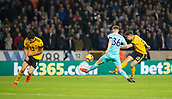 11th February 2019, Molineux, Wolverhampton, England; EPL Premier League football, Wolverhampton Wanderers versus Newcastle United; Leander Dendoncker of Wolverhampton Wanderers taking a shot at goal but  blocked by Sean Longstaff of Newcastle United