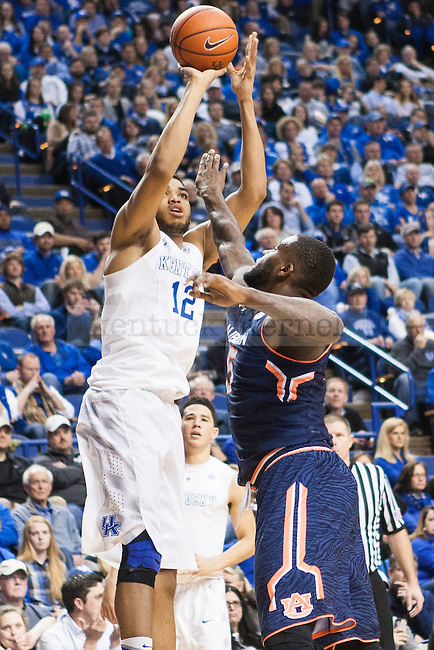 Center Karl-Anthony Towns of the Kentucky Wildcats shoots a jumper during the game against the Auburn Tigers at Rupp Arena on Saturday, February 21, 2015 in Lexington, Ky. Kentucky defeated Auburn 110-75. Photo by Michael M Reaves   Staff.