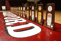 25 June 2007: Photos of the NCAA championship trophies taken at Maples Pavilion in Stanford, CA.