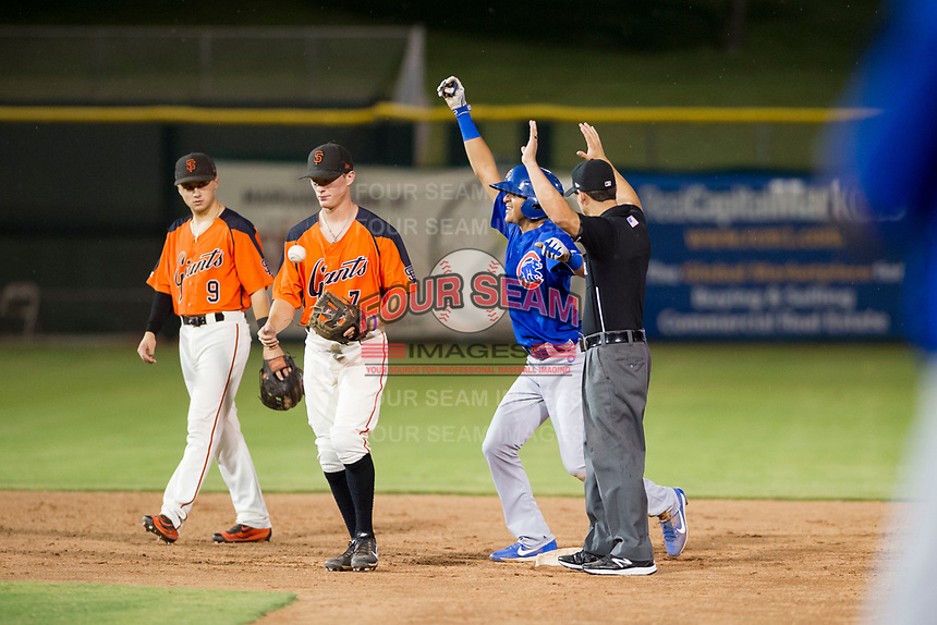 AZL Cubs shortstop Luis Vazquez (1) celebrates after hitting a double against the AZL Giants on September 7, 2017 at Scottsdale Stadium in Scottsdale, Arizona. AZL Cubs defeated the AZL Giants 13-3 to win the Arizona League Championship Series two games to one. (Zachary Lucy/Four Seam Images)