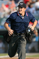 July 5th 2008:  Home plate umpire Shaylor Smith during a game at Falcon Park in Auburn, NY.  Photo by:  Mike Janes/Four Seam Images